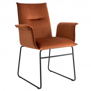 MAYA ARMCHAIR WITH SLED LEGS, by CONNUBIA BY CALLIGARIS